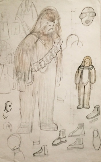John Mollo Chewbacca Concept Art around 1975 Graphite pencil and colored pencil on tracing paper